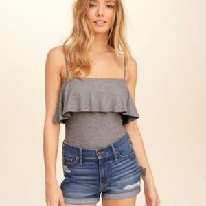 Heather gray ribbed ruffle body suit small